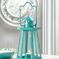 Weathered Finish Aqua Lighthouse Mini Candle Lantern
