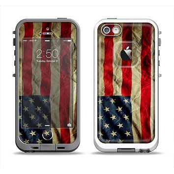 The Dark Wrinkled American Flag Apple iPhone 5-5s LifeProof Fre Case Skin Set
