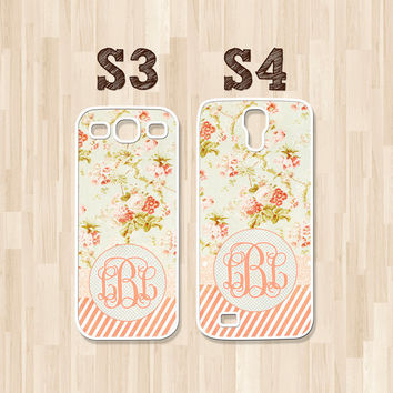 Personalized Samsung Galaxy S3, Samsung Galaxy S4, Vintage Cottage Flowers and Stripes Floral Monogram, Phone Case, Christmas Gift (130)