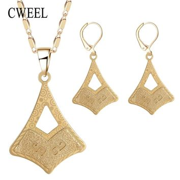 CWEEL African Beads Jewelry Set Women Wedding Indian Jewelry Sets Necklace Earrings Set Dubai Ethiopian Vintage Jewellery