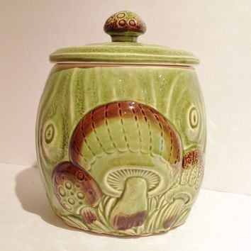 Vintage Mid Century Cookie Jar or Pet Treat Cannister Funky Early Mushroom Design 1950s