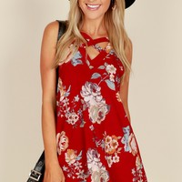 Criss Cross Floral Tank Top Cherry/Red