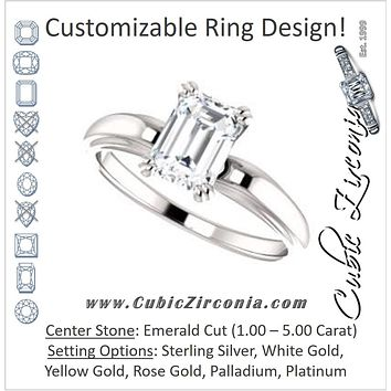 Cubic Zirconia Engagement Ring- The Jodee (Customizable Cathedral-set Emerald Cut Solitaire with Tapered Band)
