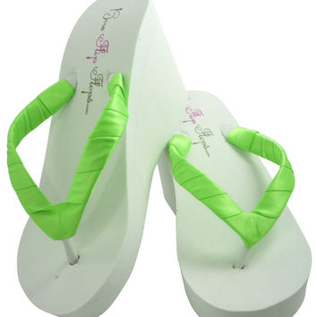 Bridesmaid Flip Flops- Wedding Wedge Flip Flops- Acid Neon Green-Ivory-White Many Colors, Bridal Sandals, Bride Shoes, Plain straps
