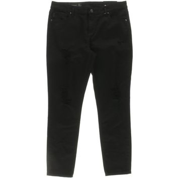 Armani Exchange Womens Denim Destroyed Cropped Jeans