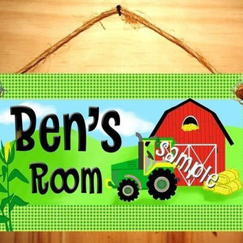 Kids Door Sign Farm Tractor Boys Bedroom Nursery Personalized Name Sign DS0149