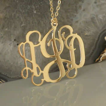 Yellow Gold Monogram Necklace - 1 1/2 Inch 18k Gold Plated on Brass - 3 Initials Personalized Monogrammed Pendant