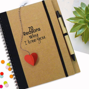Love Notebook with Heart Bookmark, Love Quotes, Love Story Journal, Journal Gift for Her, Gift for Him, Custom Journal, personalize Notebook