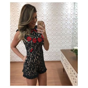 Women Sexy Backless Floral Embroidery Lace Short  Jumpsuit Romper