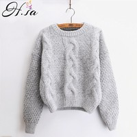 H.SA Women Sweaters Warm Pullover and Jumpers Crewneck Mohair Pullover Twist Pull Jumpers Knitted Sweaters Christmas