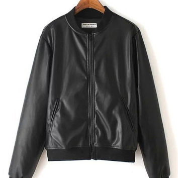 Black Side Pocket Zip-Up Cuff Long Sleeve Faux Leather Jacket