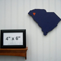 "Clemson Tigers  ""State Heart"" wall art, handcrafted wood with official team colors"