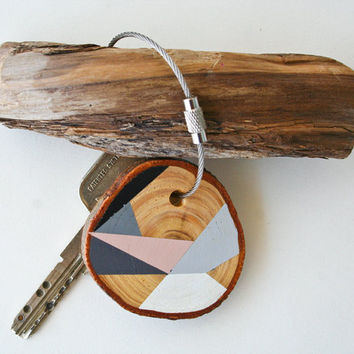 Pine  wood keychain with stainless steel cable by naneHandmade