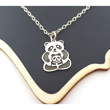 Panda Bear and Cub Charm Sterling Silver Necklace