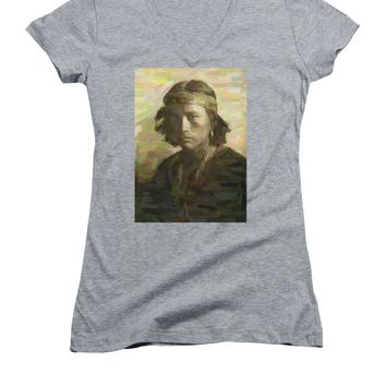 Portrait Of A Navajo Youth 1 - Women's V-Neck T-Shirt