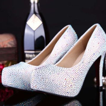 new arrival fashion women shoes rhinestone red bottom high heel wedding shoes woman crystal banquet bridal shoes size 33-42
