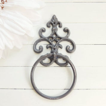 Grey Towel Holder / Towel Ring / Towel Rack / Outdoor Kitchen / Towel Hanger / Bar Towel Holder / Hand Towel Holder / Grey Home Decor