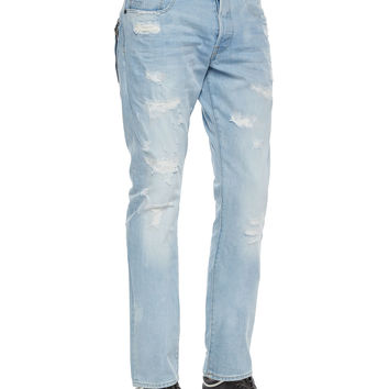 Tapered Denim Jeans with Destroyed Detail, Light
