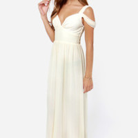 LULUS Exclusive Dreamed to Life Cream Maxi Dress