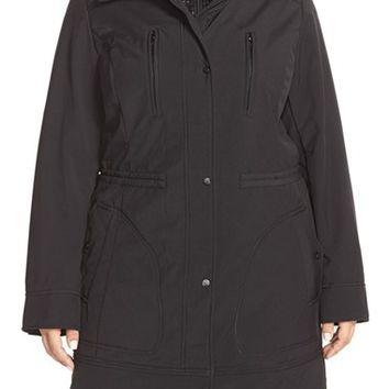 Plus Size Women's Vince Camuto Soft Shell Coat with Removable Hooded Bib,