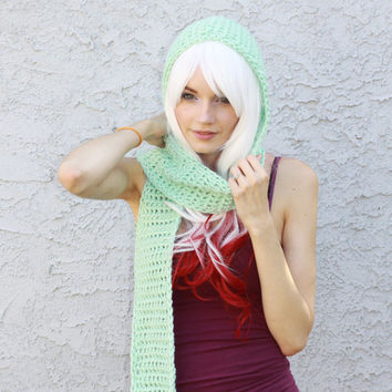 Mint Green Hooded Scarf - Pastel Aqua Green Scoofie w/ Pockets - Crocheted Vegan Friendly Acrylic Yarn, Cowl Hat, Super Soft READY TO SHIP