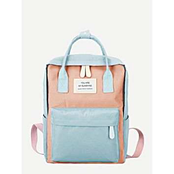 Slogan Patch Detail Square Backpack Multicolor