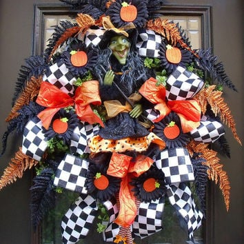 Halloween Wreaths, Witch Wreath, Halloween Door Decor, Fall Wreath, Halloween Decoration, Orange and Black