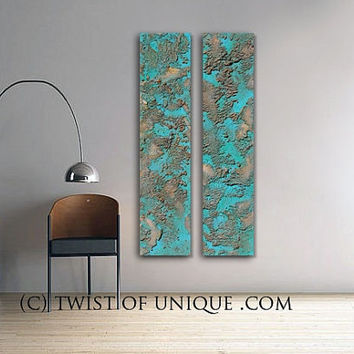 Oxidized copper metallic Abstract Painting, CUSTOM 2 panels (48 Inches x 12 Inches)  Industrial Painting - Steel, Silver, Rusted metal