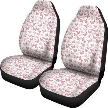 Butterfly Pattern Pink And White Universal Fit Car Seat Covers