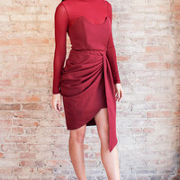 Corinna Draped Dress - Burgundy
