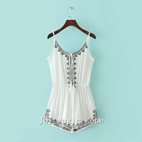 yomrzl L547 new arrival summer sexy women's Jumpsuits & Rompers one piece short pants embroidery  jumpsuit
