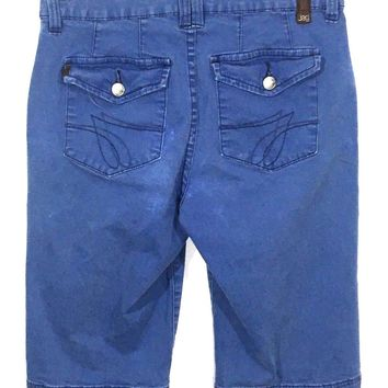 Jag Jeans Blue Wash Back Pocket Flaps Stretch Long Shorts Women's 6 - Preowned