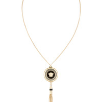Versace Gold And Black Tasseled Medusa Pendant Necklace