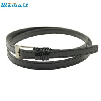 JU 14 Fairy Store 2016 Hot Selling Hot Beautiful Woman Multicolor Small Candy Color Thin Leather Belt Ms Belt