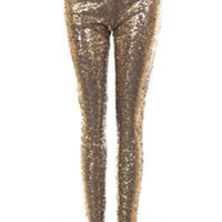 7ce9da18f71d48 TRUE GOLD SEQUIN LEGGINGS Pants Metallic Stretch NEW Long Womens Sexy S M L