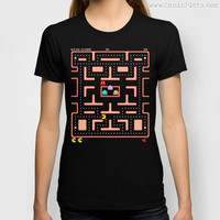 Ms. Pac-Man Video Game Graphic Print T-Shirt Tee Pop Culture Pac Man Gamer Hot 80s 90s Kid Black Nerdy Nerd Geek Geekery Namco 8 bit Gamer