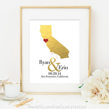 Personalized Map Print - Custom Personalized Wedding Gift - Faux Gold Foil - White & Gold - Custom Wedding Anniversary Gift - Any State