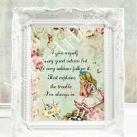 Alice in Wonderland Decor Mad Hatter Tea Party Alice in Wonderland Print Alice