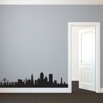 San Francisco SF City Skyline Silhouette - Vinyl Wall Art Decal for Homes, Offices, Kids Rooms, Nurseries, Schools, High Schools, Colleges, Universities
