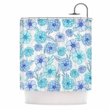 "Julia Grifol ""Sweet Blue Garden"" Blue White Watercolor Shower Curtain"