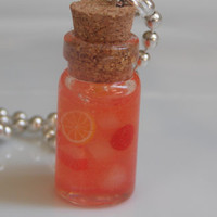 Strawberry Lemonade Glass Bottle Necklace - Resin Necklace on Silver Ball Chain With Polymer Clay Cane Slices