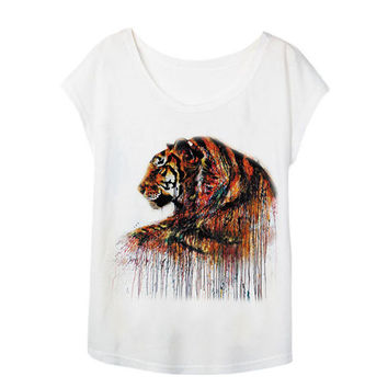 Watercolor Tiger Printed t shirts Women Summer Tees 2017 Novelty Design Casual Top Tees for Girls Clothing