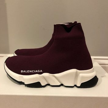 RARE WOMENS Balenciaga Speed Trainer Knit Sock PRUNE Sneakers size 35 US 5