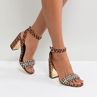 River Island Dogstooth Block Heel With Gem Detail at asos.com