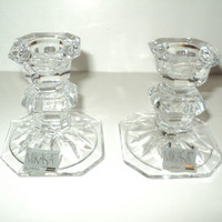 Lovely SLOVENIA Lead  Crystal Faceted Cut Candlestick Holders BY MIKASA