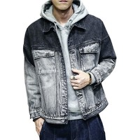 ca spbest Fashion Men's Gradient Color Jacket