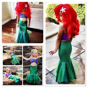 Two-piece Cartoon Little Mermaid Swimwear Baby Girls Tail Bikinis Set Costume Swim-wears Swimming Suit Outfits Dress