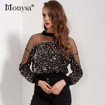 Sequin Top Women 2018 Spring New Arrivals Fashion Long Sleeve Mesh Patchwork Blouses Ladies Hollow Out Crop Tops Streetwear