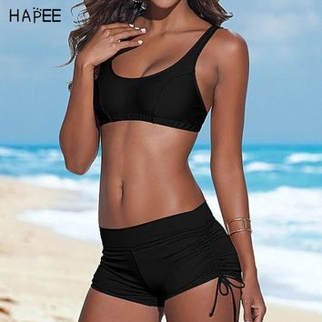 2017 Sport Elastic Sporty Swimsuit Women Digital Printed Tankini Boyshort Bikini Set Plus Size Swimwears Bathing Suit for Women