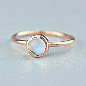 Moonstone Rose Gold Ring 14k Rose Gold Rainbow Moonstone Gold Ring Size 5.5 Rainbow Moonstone Engagement Ring